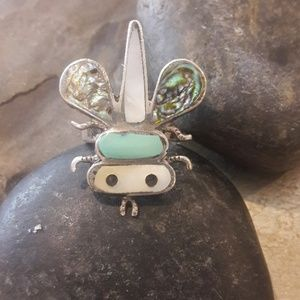 Beautiful Vintage Sterling Zuni Bee Ring